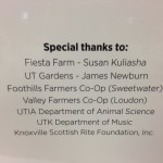 Special Thanks on the opening reception for the new Equine Facility at UT.
